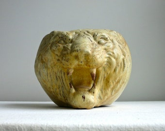 Antique Redware Lion Head Pot - American Pottery Roaring Big Cat Planter Vase
