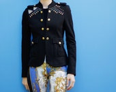 Stretchy black jersey knit blazer, hand studded with beaded appliques, military style, epaulets