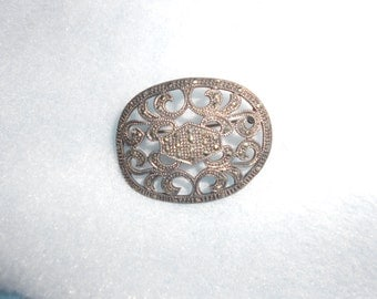 Cut Steel & Sterling Brooch Art Deco Lovely Antique With Hallmark -Unisex Steampunk Chic