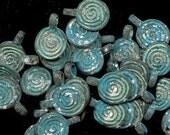 2 Shipwreck  Green Patina Verdigris Spiral Charms, Accent Beads, Pendants - Primitive, Tribal, Steampunk Style - 6-SCGP