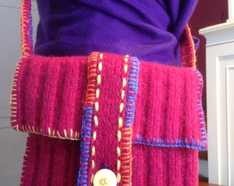 Recycled Ruby Red Wool Sweater Shoulder Bag