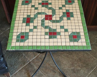 Antique Wrought Iron and Mosaic Tile End Table Stand