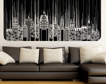 Vinyl Wall Decal Sticker Skyscrapers Line Design 5257m
