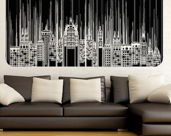 Vinyl Wall Decal Sticker Skyscrapers Line Design 5257m