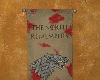 "Hand Painted ""The North Remembers"" Canvas Banner - Red Wedding - Game of Thrones - House Stark - Direwolf - Sigil"
