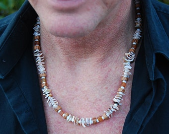 CLEARANCE - Punta Hermosa - 23 Inch Handcrafted Necklace - Horn, Sea Shell & Wood - SGArtCA - Tribal Chic Jewelry