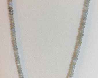 Aquamarine necklace with Argentinean calcite and silver, March birthstone, Mother's Day gift