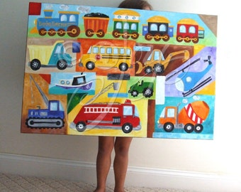 Custom Truck & Car Painting, Transportation Art, 36x24 inch acrylic canvas, Personalized Wall Art for Kids