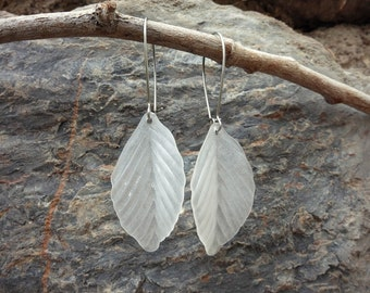 White Leaf Dangle Earrings, simple frosted leaves nature jewelry, long lightweight acrylic woodland earrings, rustic wedding