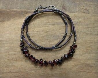 Rustic Garnet Necklace, simple earthy Bohemian style January birthstone jewelry, wine red stone nugget necklace