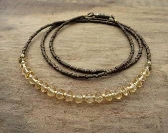 Dainty Rustic Citrine Necklace, November birthstone jewelry, layering necklace with golden yellow citrine and and antiqued brass