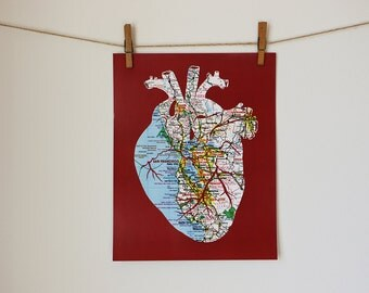 San Francisco Bay Area Heart Map Art Print // 11x14 Poster // Anatomical Heart of SF Bay