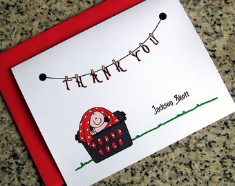punk rock goth baby boy in a laundry basket baby shower thank you notes blank cards or custom / personalized with red envelopes - set of 10