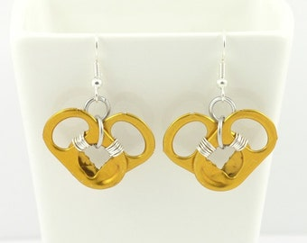 metalic orange pop tab heart earrings - wire wrapped - soda tab, pull tab, can tab - upcycle, recycle, eco
