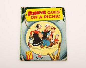 Vintage 1958 HC, Popeye Goes on a Picnic, 697, Wonder Book