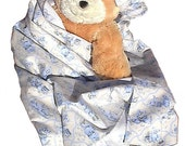 Bear Blue Flannel Baby Blanket, handmade blanky boy girl toddler