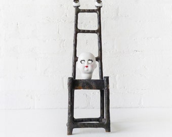 Eyeless Doll Face - Antique German Bisque Doll - Cast Iron High Chair  - Glass Brown Eyes with Lashes - Neo Surreal Collection