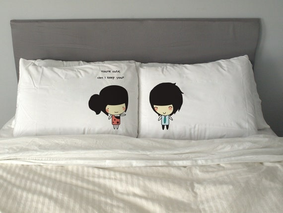 Cute Pillow Case 50cm x 70cm Funny Gift Valentine's Day Wedding Perfect Couple *Free Worldwide Shipping*