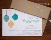 Engagement Party Invitation, Engagement Party Invite, Lantern Party Invite, Paper Lantern Party Invitation, Wedding Invitation, Teal Yellow