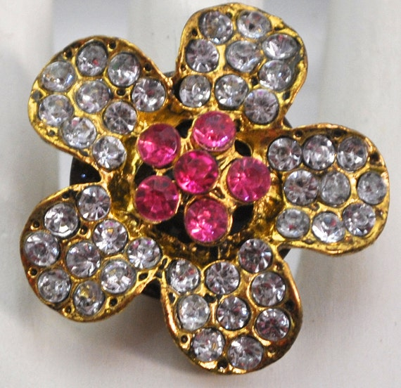 Bling Floral Cocktail Ring/ Statement Ring/ Gift For Her/Gold/Pink/Rhinestone/Wedding Jewelry/Under 15 USD/Adjustable