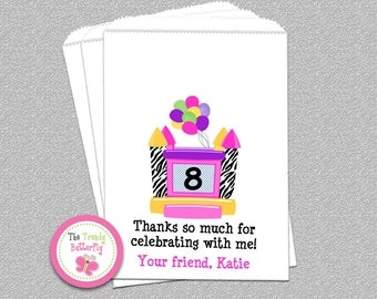 Bounce House Party Favor Bags , Bounce House Birthday Party , Candy Bags , Personalized Goody Bags, Party Favor Bag