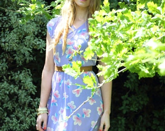 Poppy, French Vintage, 1970s Pastel, Floral Mini Dress, from Paris