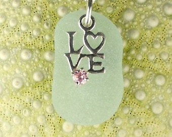 Love Necklace On GENUINE Aqua Sea Glass Jewelry