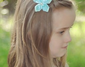 Hair Accessory Ribbon Flower Hair Clip Headband Teal Aqua Little Girls Boutique Hair Accessory Toddlers Hair