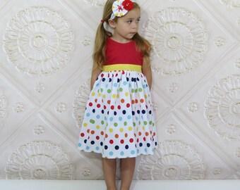 Girls Knit Tank Dress, Rainbow Polka Dot, Toddler Girl, Sundress