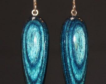Indigo wood drop earrings