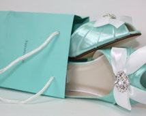 Wedding Shoes - Aqua Blue Wedding Sparkling Crystals - Dyeable Shoes - Aqua Blue - Choose From Over 200 Colors - Short Heel - Parisxox