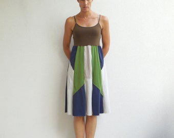 Women's T-Shirt Dress Tee Dress Tank Top Brown Green Navy Blue Tan Earth Tones Fashion Cotton Dress Upcycled Dress Summer Dress ohzie