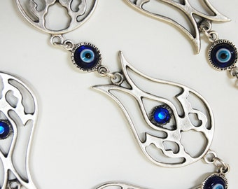 Tulip Calligraphy Wall Hanging Amulet Handmade Turkish Silver Plated Evil Eye Bead