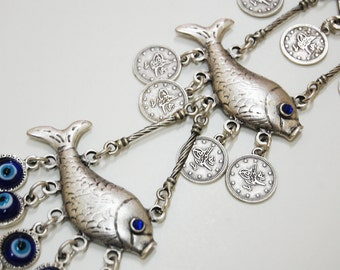 Two Fishes Wall Hanging Amulet Handmade Turkish Silver Plated Evil Eye Bead