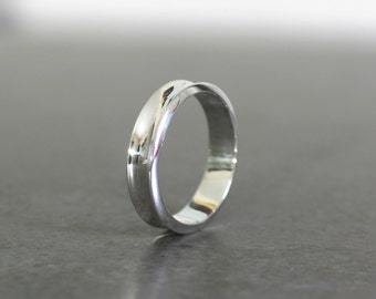 Curved Concave Silver Wedding Band - Mens Wedding Band - Simple Wedding Ring - Modern, Concave