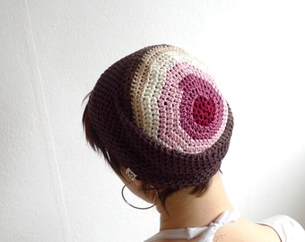 Crochet Beanie, Slouchy Beanie Cap - Brown, White and Pink Bamboo & Cotton Beanie - Summer Hat Brown Hat Women Men Beanie