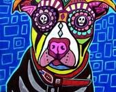 Pit bull Art Day of the Dead  Folk Art Dog Sugar Skull Print  Art Print Poster by Heather Galler (HG760)