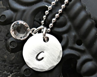 Personalized Initial Necklace - Inital Sterling Silver Necklace - Hand Stamped Initial Charm with Birthstone
