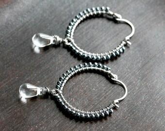 Seed bead hoops, dark grey, blue, gunmetal, sterling silver, wire wrapped hoops, beaded dangle, Czech glass, Mimi Michele Jewelry