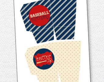 Vintage Baseball Party PRINTABLE Birthday Favor Box (INSTANT DOWNLOAD) by Love The Day