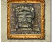 Angkor's Faces - Buddha - Original Painted Silk Carving/Silk Sculpture on Stretcher Frame