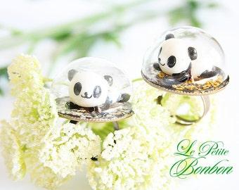Panda in a glass globe ring