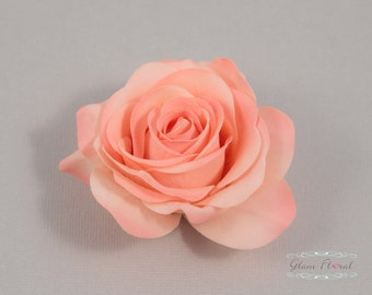 Coral Peach Rose Hair Clip / Brooch / Corsage, Petite Real Touch Rose Fascinator