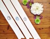 """custom monogrammed bouquet ribbon (1.5"""" wide grosgrain), bridal bouquet, bridesmaid bouquet"""