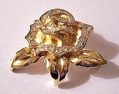 Crystal Rose Flower Pin Brooch Gold Tone Vintage Three Leaf Round Clear Stones Layered Open Petals