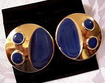 Blue Dot Edge Pierced Post Stud Earrings Gold Tone Vintage Large Round Domed Disc Buttons