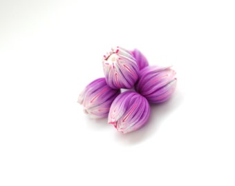 Handmade polymer clay beads, Tulip beads, Flower beads, flower pendants, focal beads, statement beads - purple and pink flower - 5 pcs