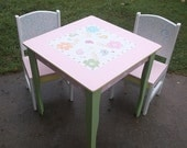 Custom Table and Chair set Desks for Girls Paisley Pink Green Kids Furniture Home and Living Baby