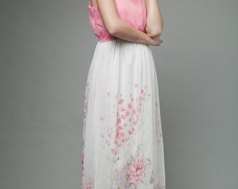 "vintage 70s maxi dress pink white shoulder straps painted floral print M L (38"" bust)"