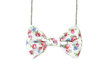 Floral Blue Red Bow Tie Necklace - Vintage Inspired - Red And blue Women Bowtie